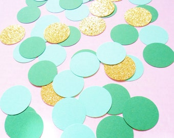 Mint, Emerald, and Gold Glitter Confetti