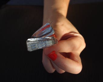 """Ring (O 59) """"Facets"""" transparent with silver, simple and Chic but above all... Unbreakable!"""