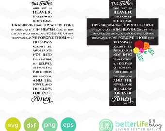Lord's Prayer Cross Svg: Our Father in the shape of a Cross SVG File, DXF Silhouette Cameo, Cricut Explore Svg cut file