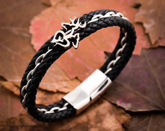 Buck and Doe Leather Bracelet, Buck Doe and Spike, Baby Deer, Hunting Parents, Hunters Gift, Gifts for Dad, Hunting Jewelry, By Namecoins