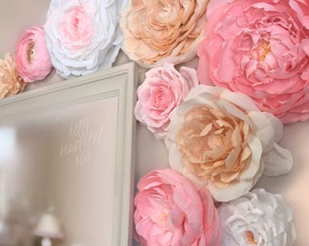 Deluxe Paper Flower Wall,  Set of 9,  Baby Girl Nursery,  Wedding Decor,  Event Photo Backdrop, Handmade Crepe Paper Flowers, Styles Vary