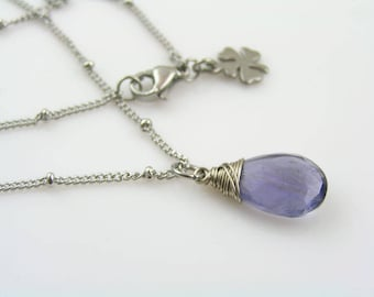 Iolite Necklace, Wire Wrapped Gem Necklace, Iolite Jewelry, Single Stone Necklace, Solitaire Necklace, Water Sapphire Necklace, N1732
