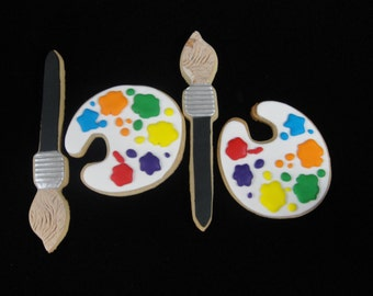 Painters Pallet and Brush Cookies, Cookie Favors, Craft Party Favor, Personalized Cookies, Kids Favors, Kids Favor Cookies