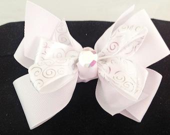 White Wedding Collar Ribbon Bow for Girl Dog