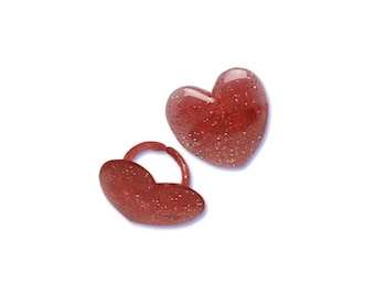 Glitter Heart Rings - Cake Decoration Cupcake Toppers - Valentines Day  - 12 count - Baking and Candy Making Party Decorations