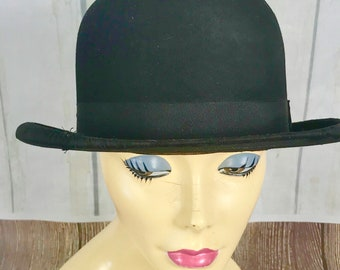 Vintage Black Young Bros New York Bowler / Derby Hat Size 7 1/8