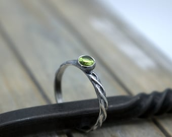 Peridot August Birthstone Ring - Sterling Silver Peridot Ring