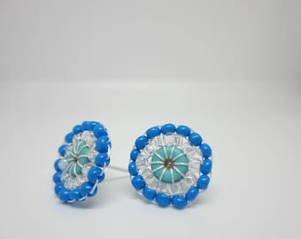 Seed Bead earrings, Blue Earrings, Beaded post earrings, earrings, post earrings