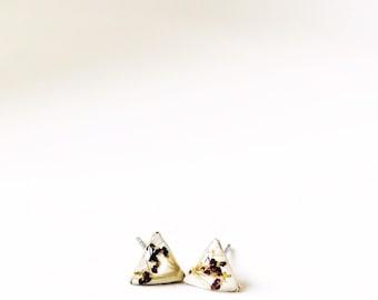 Pressed purple chocolate ammi post earrings