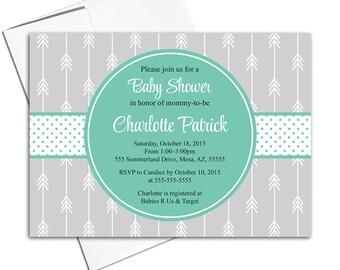 Boho baby shower invitations neutral shower | gray mint invitations with arrows | arrow baby shower invites | neutral baby shower - WLP00741