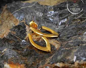 Sterling silver open hoops, Leaf shape hoop earrings, Minimalist jewelry, Urban jewelry, Handcrafted earrings, Unisex jewelry