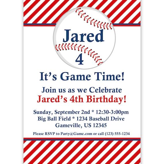 Vintage Baseball Birthday Invitations: Baseball Invitation Red Striped Baseball Ball Personalized