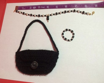 American Girl Necklace,Bracelet, and Hand Crocheted Purse