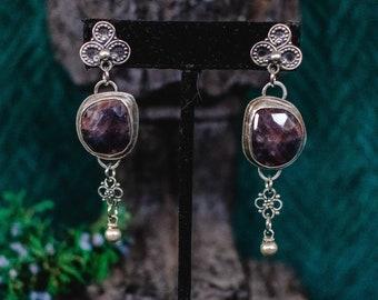 Boho Earrings, Sterling Silver Earrings, Sapphire Earrings, Handmade earrings, Silver Jewelry, Crescent Moon Earrings