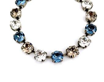 Perfect Greige • Swarovski Crystal Bracelet • Denim, Greige, Clear