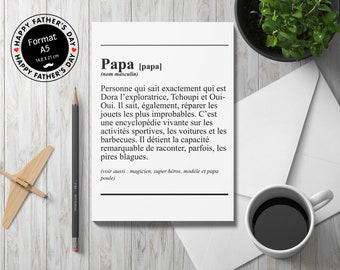 A5 Postcard - Family - Dad -daddy definition - Gift, Father's Day, Birthday, I love you, Grandfather, Black and White