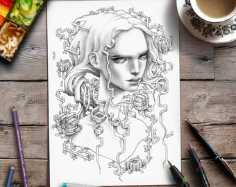Coloring for Adults | Printable Page | Grayscale | Woman | Flowers