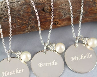 Personalized Bridesmaid Jewelry Set of 3 Custom Engraved Pendants Necklaces, Wedding Jewelry, 925 Sterling Silver