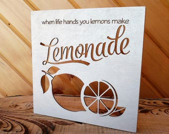 When Life Hands You Lemons Wood Canvas, Lemonade Wall Art, Wood Home Decor, Life Saying, Inspirational Quote, Wall Gallery Collage, Sign