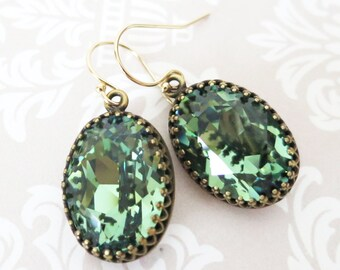 Erinite Green Crystal Earrings GOLD FILLED Ear wires, Brass Adjustable Swarovski Crystal Oval Bridal Bridesmaid Wedding Vintage Earrings