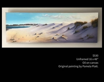 Beach Sand Dunes, original oil painting by artist Pamela Platt 16x48""