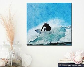 Surf Art - Canvas Wall Art - Gift for Surfer - Surf Decor - Teen Room Decor - Teenage Boys Bedroom Art - Surfing Gifts - Beach Wall Art  8x8