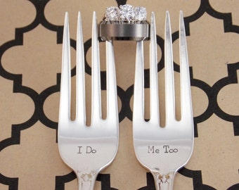 I do Me too Fork Set - Hand Stamped Vintage Silverware, wedding forks, wedding silverware