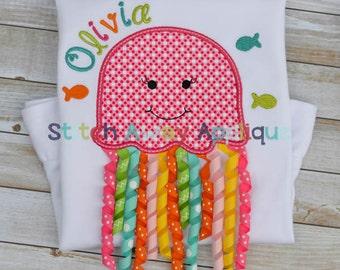 3D Jellyfish Korker Ribbon Tentacles Summer Machine Applique Design
