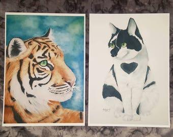 A4 Prints, Watercolour, Tiger, Cat