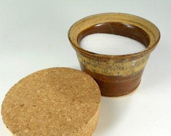 Ceramic sugar bowl, pottery sugar bowl, stoneware sugar bowl with cork lid, salt cellar with lid, ceramic salt cellar, pottery salt jar