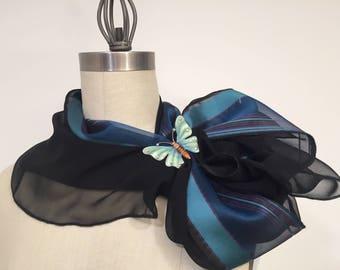 Silk Chiffon And Silk Organza Infinity Scarf, Black Silk scarf, Blue Strips, Loop Scarf, Circle Scarf