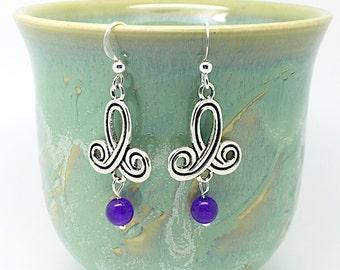 Silver purple earrings drop purple, drop lilac earrings, dark purple drop, purple drop earring
