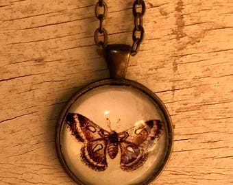 Vintage Moth Charm Necklace