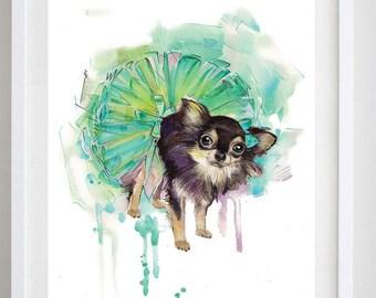 Chihuahua  Fine Art Print 8x10 Dog Print _ Baby Birthday Gift _ Whimsical Art _ Dog Art Print _ Modern Art