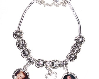European Style Bracelet with 2-Photo Charms and Metal Tebetan Beads -  FREE SHIPPING
