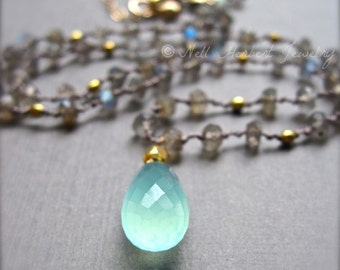 Gemstone Necklace, Aqua Chalcedony and Labradorite Necklace, Hand Knotted Silk Cord Gemstone Pendant Necklace