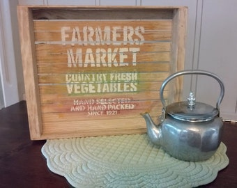 Farmer's Market hand painted wood crate sign