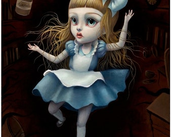 Alice Falling- Limited Edition Alice in Wonderland signed numbered 8x10 pop surrealism Fine Art Print by Mab Graves