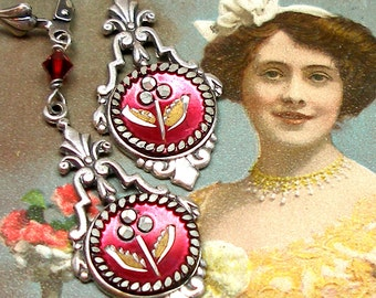 Antique BUTTON earrings, Victorian flowers in red on silver. OOAK one of a kind button jewellery.