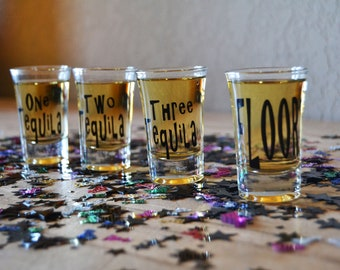 One Tequila... Two Tequila... Three Tequila... FLOOR! | Funny Tequila Glasses | Tequila Shots