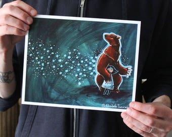 Bear with a Girl; Fine Art Print