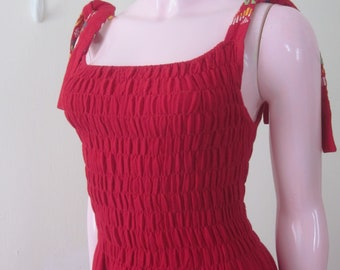 1970s Red Woven Cotton Guatemalan Maxi Dress, Sizes S - M
