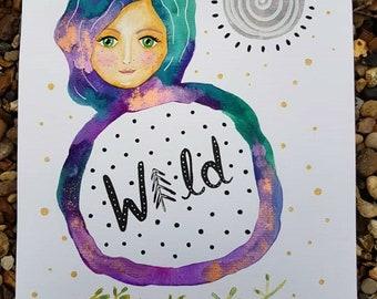Original watercolour painting - wild goddess painting - moon illustration - nature art - witchy artwork - nature wall art