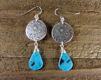 Turquoise Earrings, Sun, Moon & Stars Earrings, Sterling Silver Turquoise Jewelry, Astrological Dangles