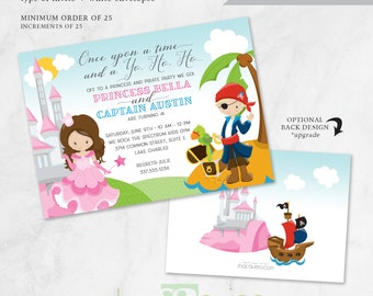 Princess and Pirate Birthday Invitation - Fairytale - Kids - Captain - Princess - Pirate - Twins