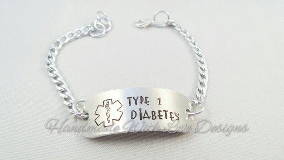 Medical ID Chain Bracelet - TYPE 1 diabetes, diabetic handstamped