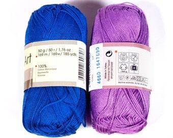 100% mercerized cotton yarn,  Knitting crochet yarn, Begonia 50g 169m