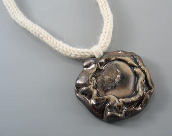 Wool Necklace  with ceramics, Freeform Pendant, handmade ceramic necklaces, boho ceramic jewelry, unique ceramic  necklace, Ceramic jewelry,