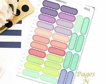 Scalloped Event Stickers/ Planner Stickers/ Blank Stickers/ Plum Paper Colors/ Family Planner/ Plum Paper Designs  #234