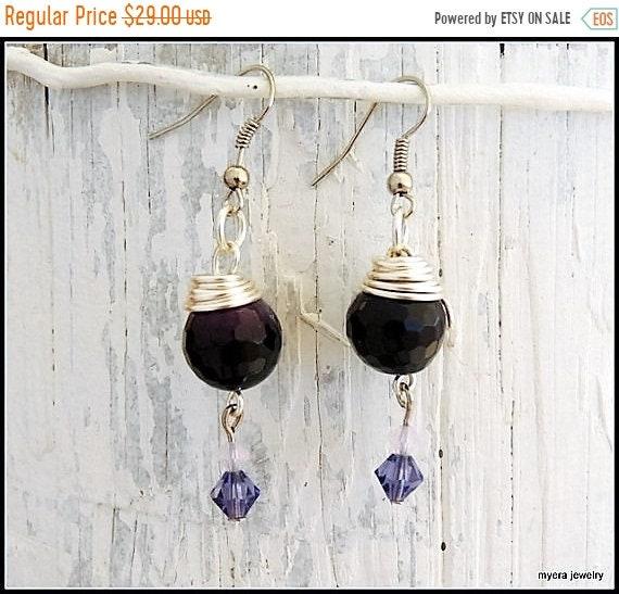 SALE Purple drop earrings, Statement Earrings, Lilac Dangle Earrings, Cute Small Earrings, Dark Purple Earrings, Womens Ball Earrings